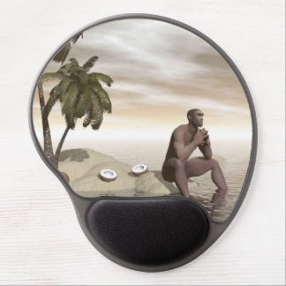 Homo erectus thinking alone - 3D render Gel Mouse Pad