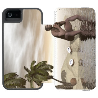 Homo erectus thinking alone - 3D render Incipio Watson™ iPhone 5 Wallet Case