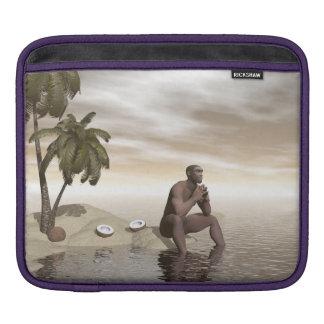 Homo erectus thinking alone - 3D render iPad Sleeve