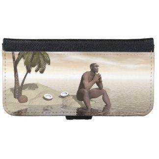 Homo erectus thinking alone - 3D render iPhone 6 Wallet Case