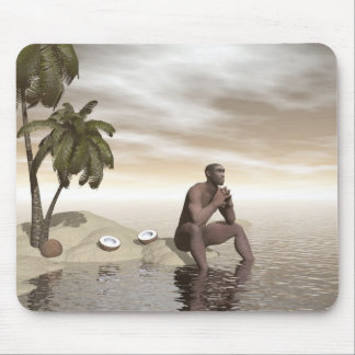 Homo erectus thinking alone - 3D render Mouse Pad