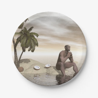 Homo erectus thinking alone - 3D render Paper Plate