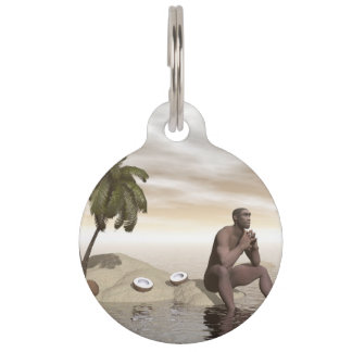 Homo erectus thinking alone - 3D render Pet Name Tag
