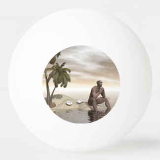 Homo erectus thinking alone - 3D render Ping Pong Ball