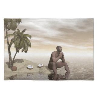 Homo erectus thinking alone - 3D render Placemat