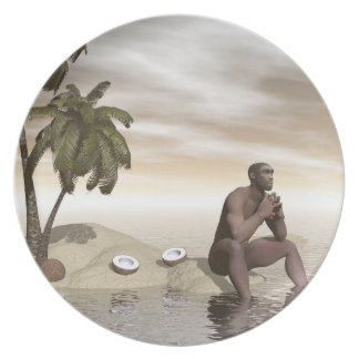 Homo erectus thinking alone - 3D render Plate