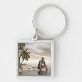 Homo erectus thinking alone - 3D render Silver-Colored Square Keychain