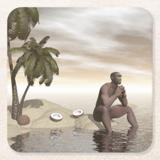 Homo erectus thinking alone - 3D render Square Paper Coaster