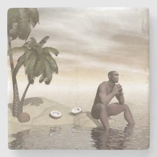 Homo erectus thinking alone - 3D render Stone Coaster