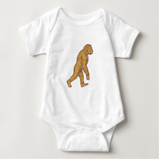Homo Habilis Walking Side Drawing Baby Bodysuit