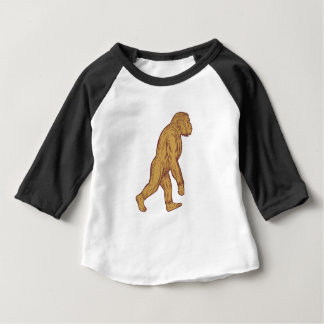Homo Habilis Walking Side Drawing Baby T-Shirt