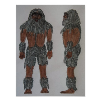 Homo Heibelbergensis old man grey Poster