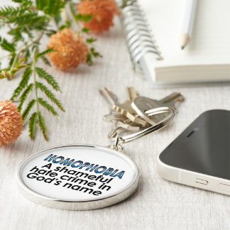 Homophobia: A shameful hate crime in God's name Silver-Colored Round Keychain