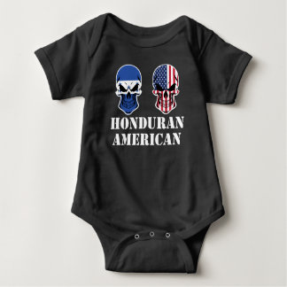 Honduran American Flag Skulls Baby Bodysuit