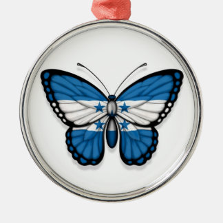 Honduras Butterfly Flag Silver-Colored Round Ornament