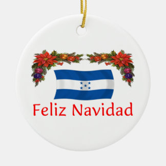 Honduras Christmas Round Ceramic Ornament