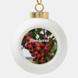 Honduras Coffee Beans Ceramic Ball Christmas Ornament