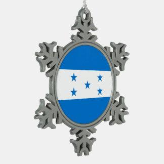 Honduras Flag Pewter Snowflake Ornament