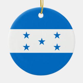 Honduras Flag Round Ceramic Ornament