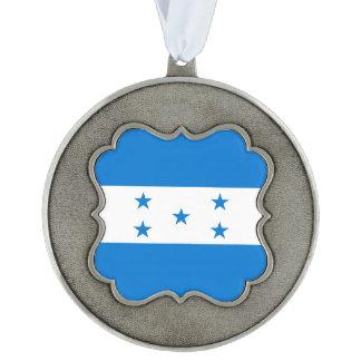Honduras Flag Scalloped Pewter Ornament