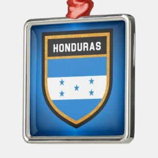 Honduras Flag Silver-Colored Square Ornament