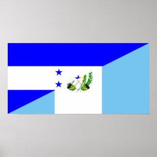 honduras guatemala country half flag symbol poster
