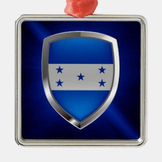 Honduras Metallic Emblem Silver-Colored Square Ornament