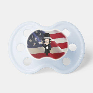 Honest Abe Lincoln and Old Glory Proudly Waving Baby Pacifiers