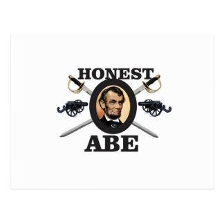 honest abe with swords postcard