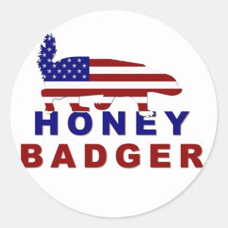 honey badger american flag classic round sticker