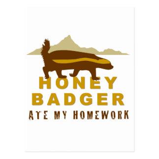 honey badger at my homework postcard