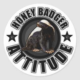 Honey Badger ATTITUDE - Round Design Round Sticker