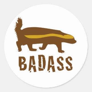honey badger badass round sticker