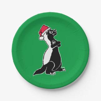 Honey badger Christmas Paper Plate