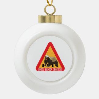Honey Badger Crossing Sign - White Background Ceramic Ball Christmas Ornament