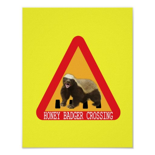 Honey Badger Crossing Sign - Yellow Background Print