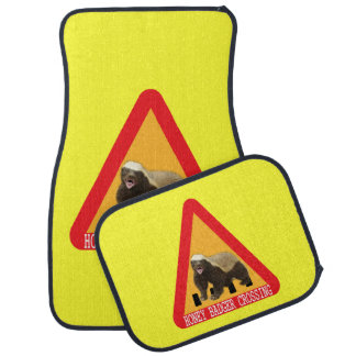 Honey Badger Crossing Sign - Yellow Background Car Mat
