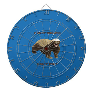 Honey Badger Don't Care. Crayon Blue Pattern Dartboard With Darts