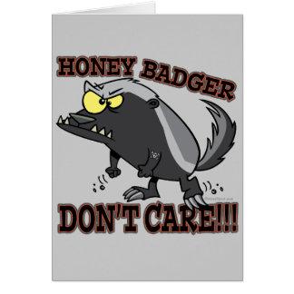 HONEY BADGER DONT CARE FUNNY CARTOON GREETING CARD