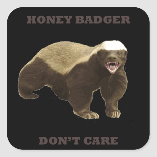 Honey Badger Don't Care On Black Background. Funny Stickers