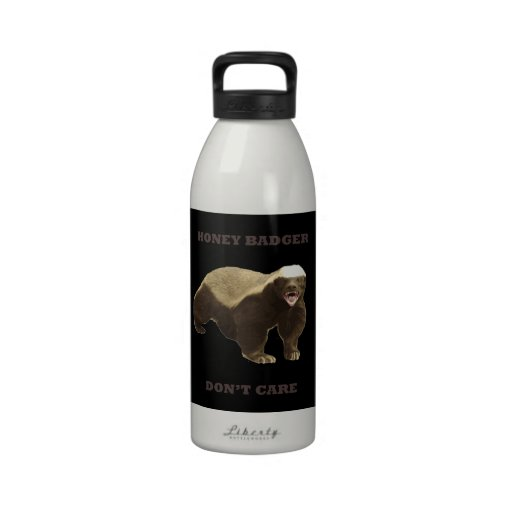 Honey Badger Don't Care On Black Background. Funny Reusable Water Bottles