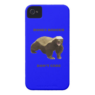 Honey Badger Don't Care On Dark Blue Background iPhone 4 Cover