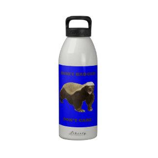 Honey Badger Don't Care On Dark Blue Background Water Bottles