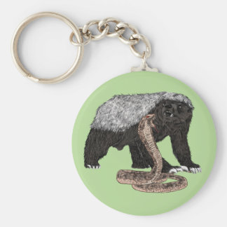 Honey Badger Faces Snake Fearless Animal Design Basic Round Button Keychain
