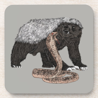 Honey Badger Faces Snake Fearless Animal Design Coaster