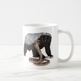 Honey Badger Faces Snake Fearless Animal Design Coffee Mug