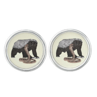 Honey Badger Faces Snake Fearless Animal Design Cuff Links