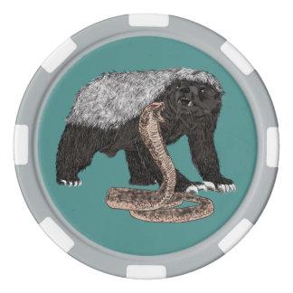 Honey Badger Faces Snake Fearless Animal Design Poker Chips