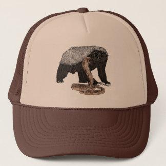 Honey Badger Faces Snake Fearless Animal Design Trucker Hat