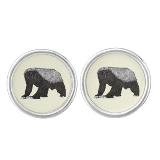 Honey Badger Fearless With Attitude Animal Design Cuff Links
